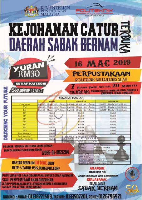 Poster Kejohanan Catur Terbuka Daerah Sabak Bernam 2019
