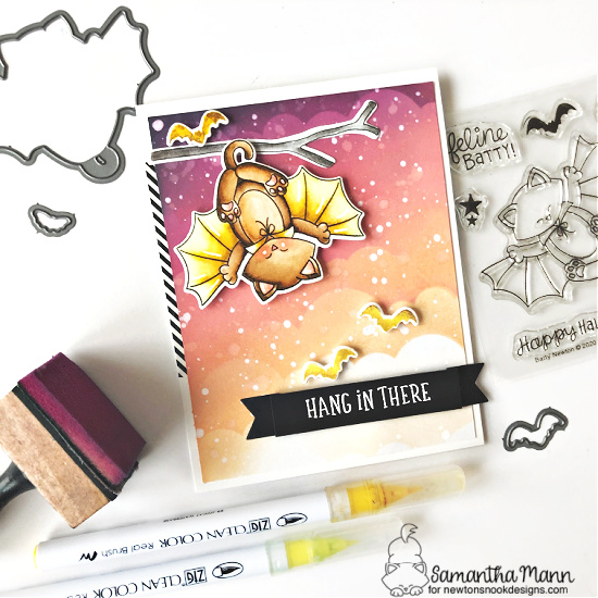 Hang in the Halloween Bat Cat Card by Samantha Mann | Batty Newton Stamp Set, Heartfelt Essentials Stamp Set, Clouds Stencil and Banner Trio Die Set by Newton's Nook Designs #newtonsnook #handmade