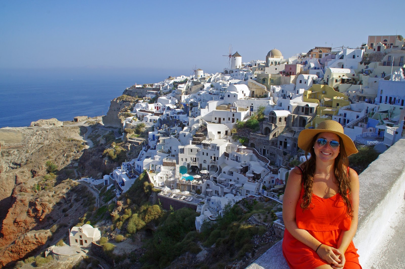 Girl in Oia Santorini