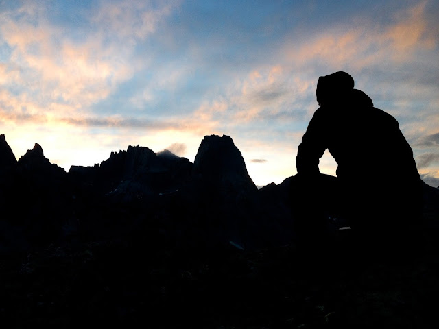 The Cirque of the Towers in the Wind River Range of Wyoming. Admiring the peaks at sunset