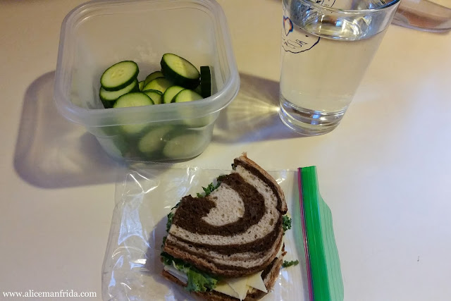 leftovers, snack, lunch, sandwich, cucumber, water, tasty tuesday, what I ate, food diary