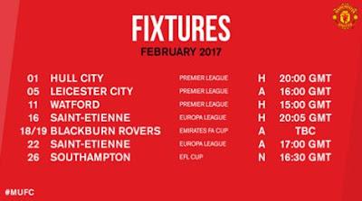 Jadwal Pertandingan Manchester United Februari 2017