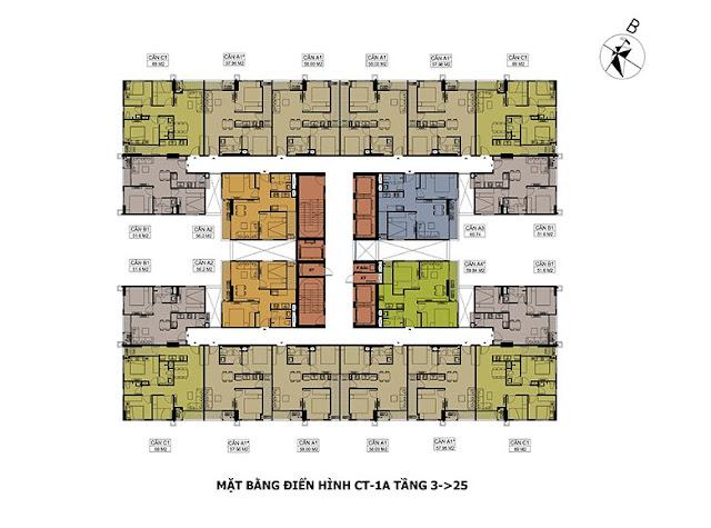 Mặt bằng tầng căn hộ điển hình tòa CT1A