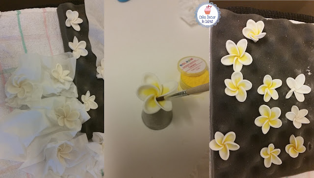 Fondant/Gumpaste Frangipani dusted yellow pic tutorial