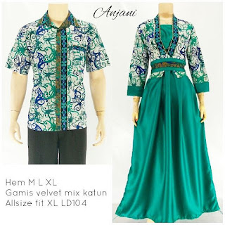 batik pasangan sarimbit gamis anjani hijau