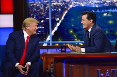 Stephen Colbert with Donald Trump