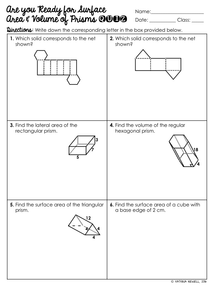 Surface Area Volume of Prisms Unit Mrs Newells Math – Rectangular Prism Worksheet
