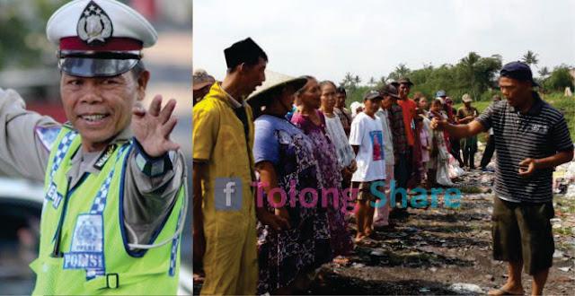 Diberi Uang Anggota DPR, Polisi Yang Nyambi Jadi pemulung Bagikan Uangnya Ke Pemulung Lain