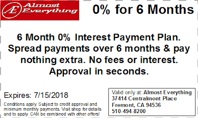 Coupon 6 Month Interest Free Payment Plan June 2018