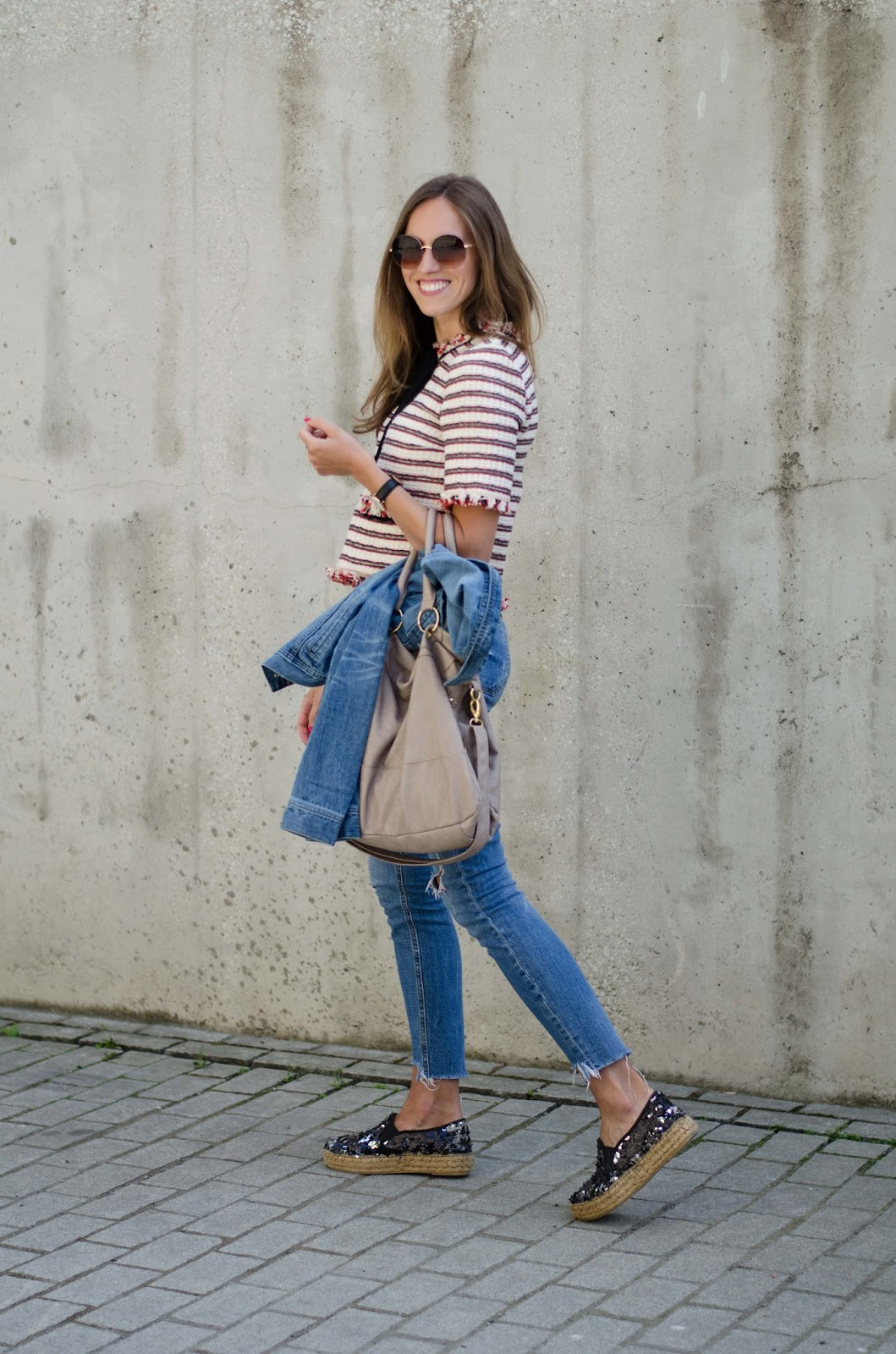 kristjaana mere zara striped top frayed jeans sequin espadrilles outfit