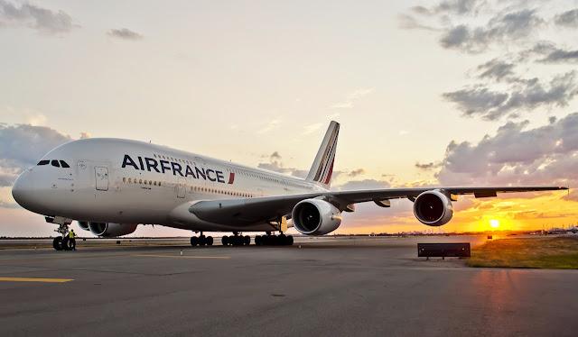 A380-800 Air France Sunset Scene