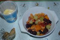 healthy food fruit salad & double cream