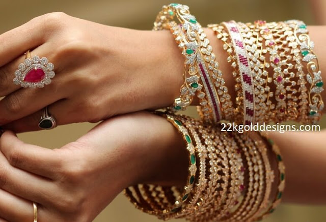 Diamond Gemstone Bangles Collection