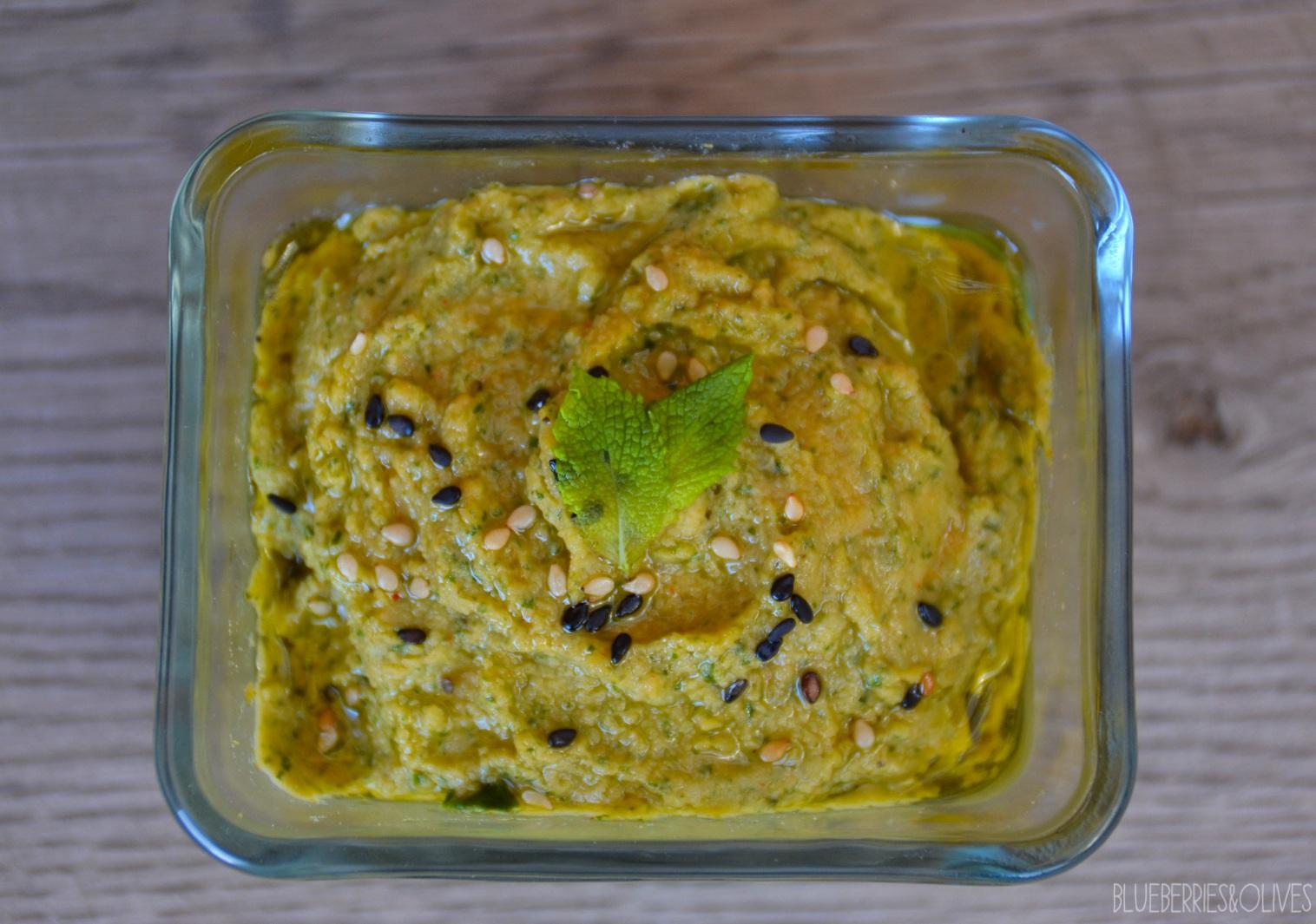 Hummus colorido de espinacas y remolacha 3