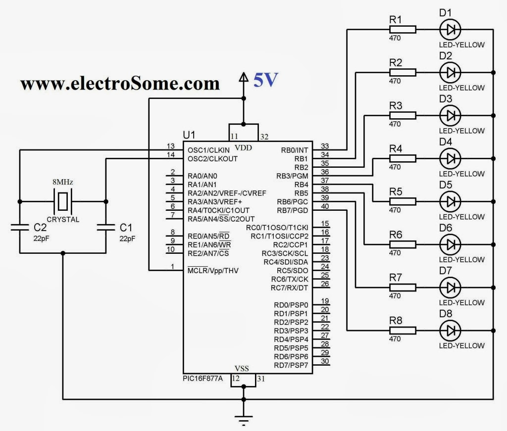 8 Led Chaser Circuit Diagram Wiring Library Flashing Light Using A 555 Timer Astable Model Gif Leds Project Pic16f877a Muc