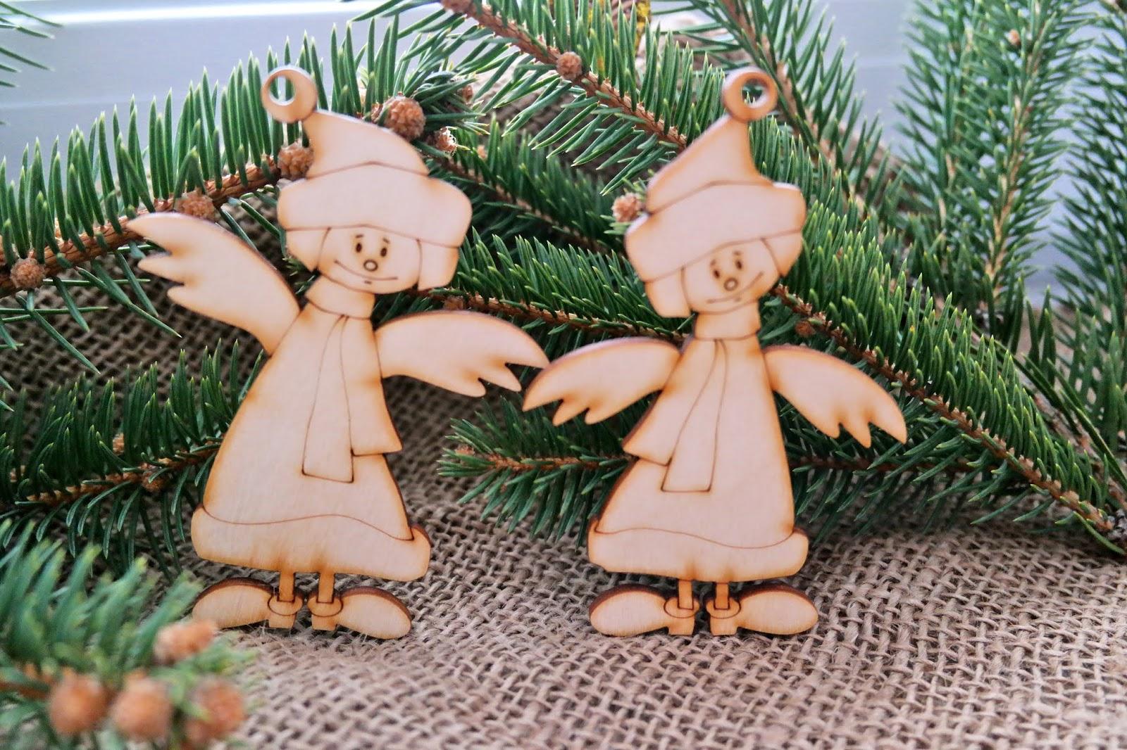 aniołki z drewna na choinkę