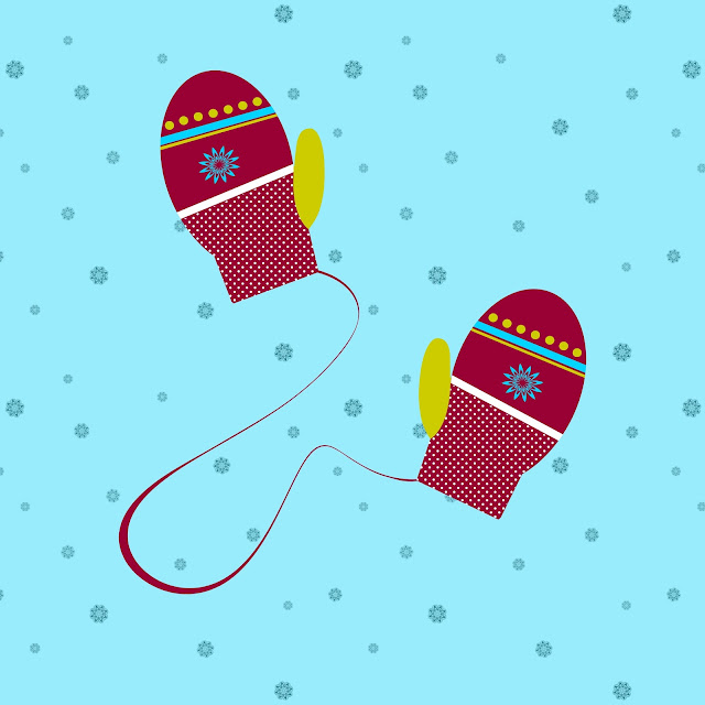 Red Patterned Mittens on a String illustration by StephG