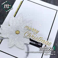 Stampin' Up! Peaceful Poinsettia and Detailed Poinsettia Bundle Card Idea. Order current cardmaking supplies from Mitosu Crafts UK Online Shop