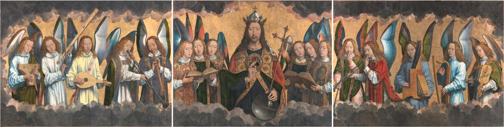 'Retablo de Santa María la Real de Nájera' o 'Cristo rodeado de ángeles que cantan la Gloria eterna' - obra de Hans Memling, c. 1489 - Museo de Bellas Artes de Amberes (Inventarios: 778 - 780)