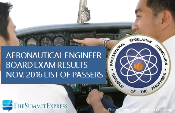 Aeronautical Engineer board exam results November 2016