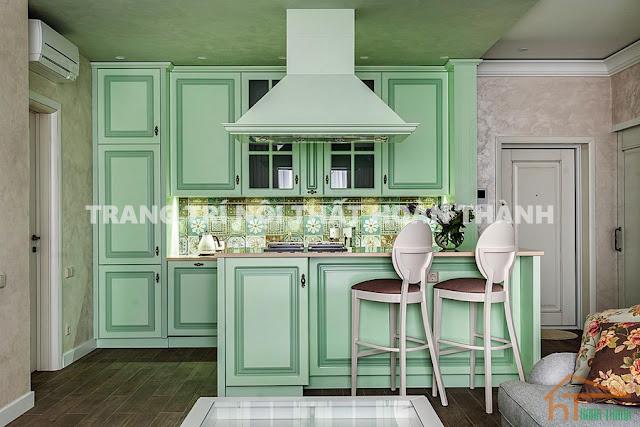 Một bộ tủ nội thất nhà bếp màu xanh dep