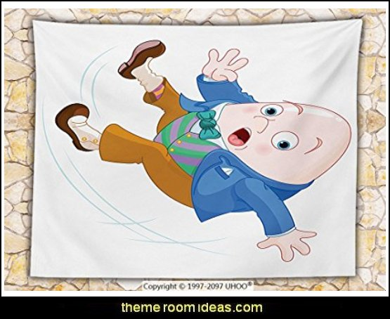 Alice in Wonderland Decor Fleece Throw Blanket Humpty Dumpty Egg Fall Down Transformation Cartoon Egg Nursery Illustration Throw Multi