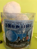 container of fabric snowballs