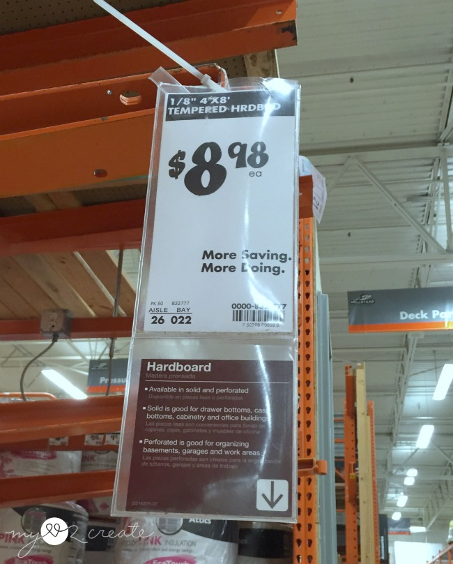tempered hardboard at Home Depot