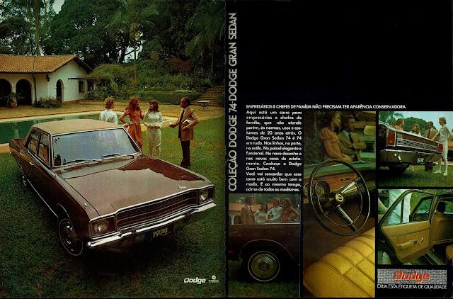 Propaganda Chrysler Dodge Gran Sedan 74 - 1973
