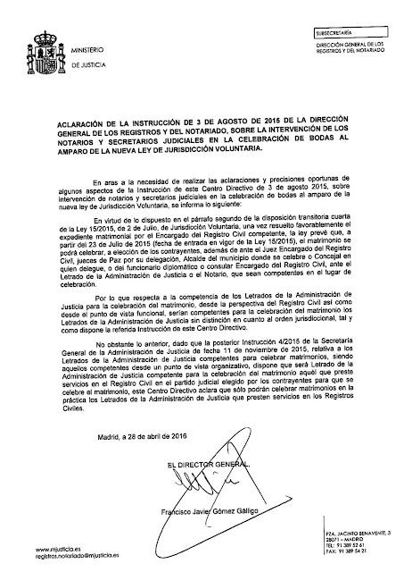 Matrimonio civil e competencia dos letrados da Administración de Xustiza