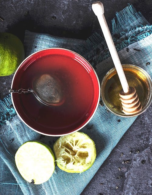 Loose herbal tea with honey and lime
