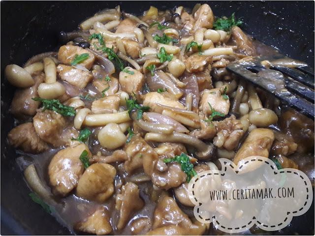 resepi ayam masak sos tiram cendawan sedap mudah senang
