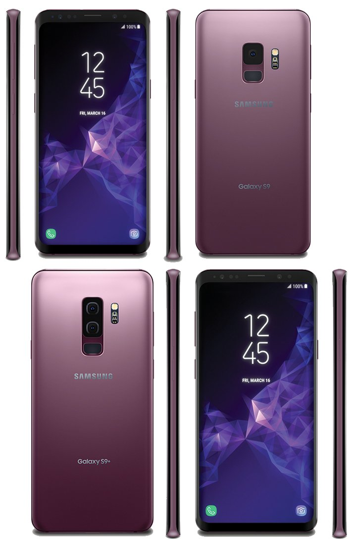 Samsung Galaxy s9 and s9 plus front and back views