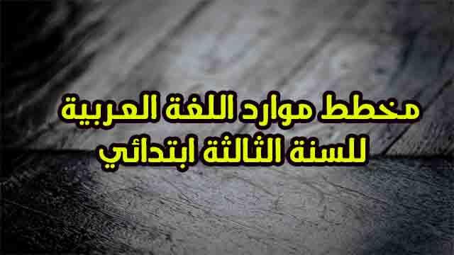 مخطط موارد اللغة العربية للمقاطع الثمانية للسنة الثالثة ابتدائي