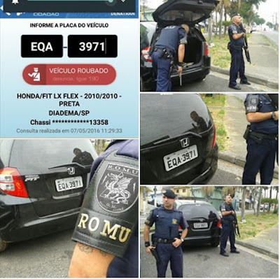 ROMU localiza veículo produto de roubo pela favela do Jd. Cristiane em Santo André