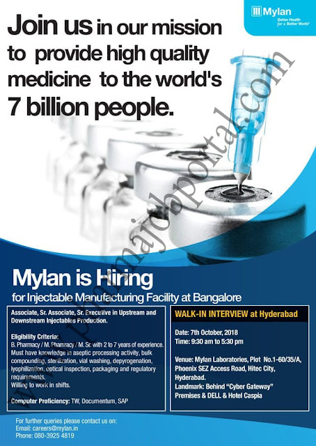 MYLAN LABORATORIES Walk In Interview For Multiple Positions at 7 Oct