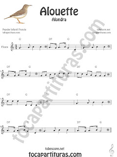 Flauta Travesera, flauta dulce y flauta de pico Partitura de Alouette (Alondra) Canción infantil Sheet Music for Flute and Recorder Music Scores