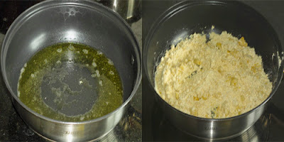 ghee heated to make ladoo
