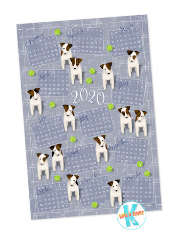 Parson Jack Russell Terriers with tennis balls - vote for designs in Spoonflower's 2020 tea towel calendar challenge