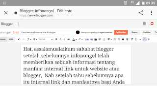 Gambar tersebut adalah contoh halaman entri isi konten atau artikel baru