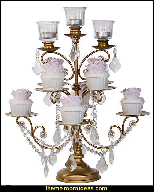 Madeleine Collection Cupcake Stand Display Tower with 3 Glass Votive Candle Holders with Crystal Dangles