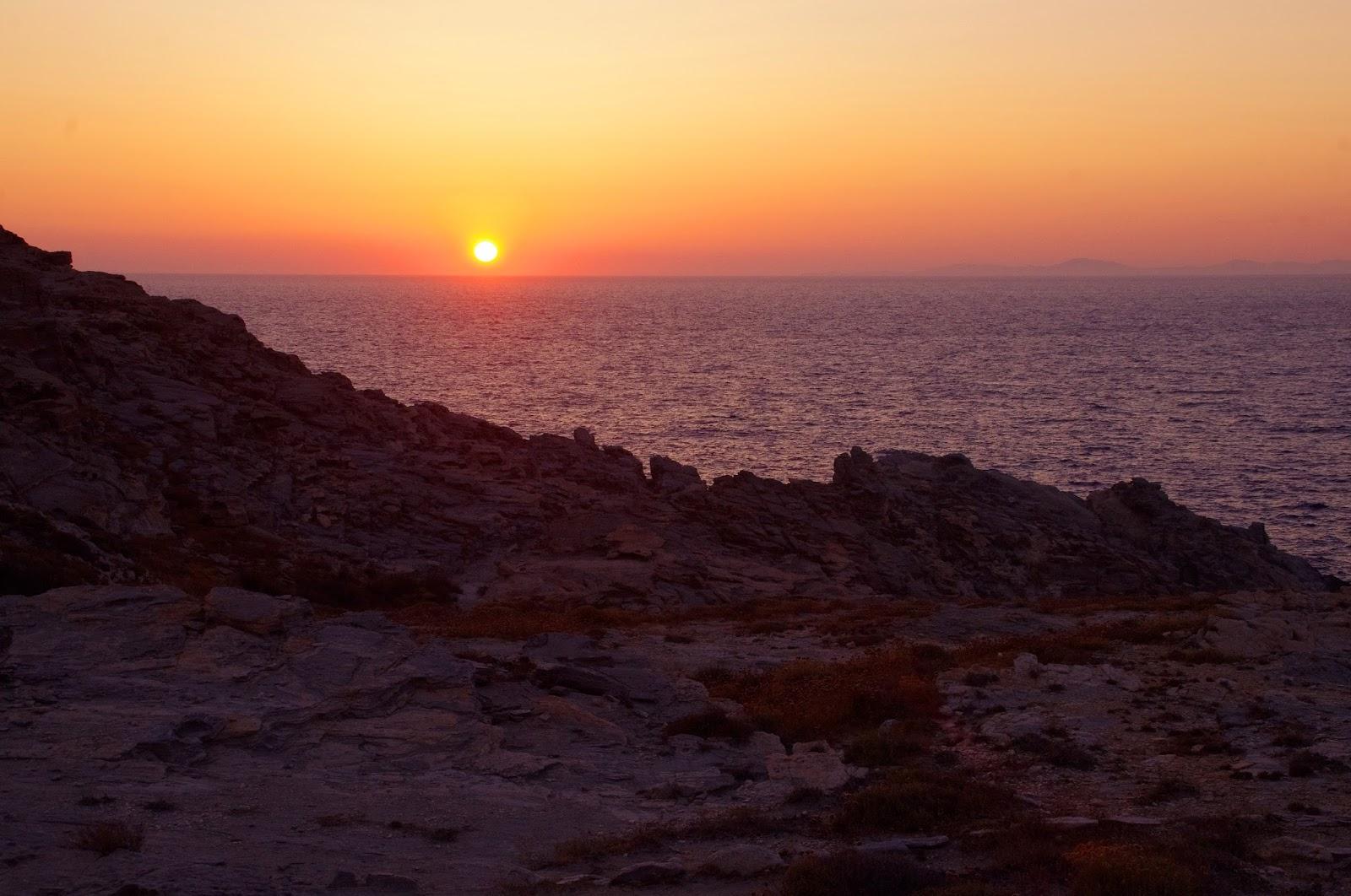 Sunset over Paros Greek Islands