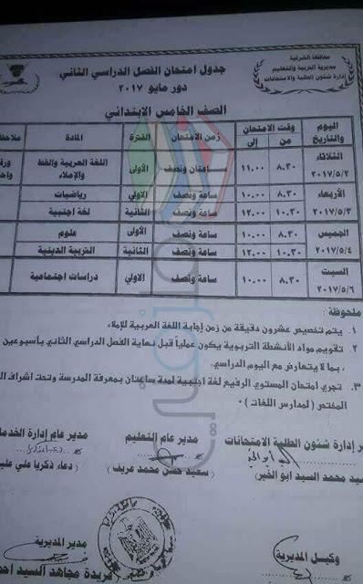 جدول امتحانات الصف الخامس الابتدائي الترم الثاني 2017 محافظة الشرقية