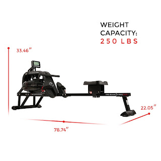 Sunny Health & Fitness SF-RW5713 Obsidian Surge 500 Water Rower Rowing Machine, Dimensions, image, review features & specifications