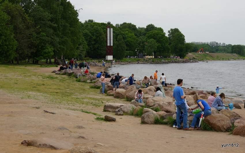Жители Петербурга вышли погреться на пляж.