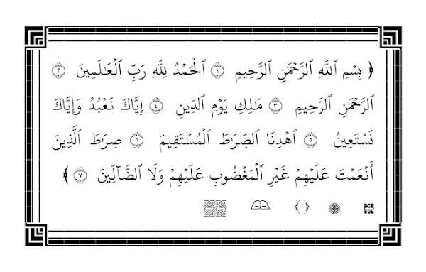 Surat Al Fatihan diketik dengan Quran in Word 2018