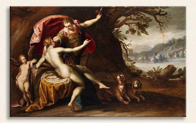 Hans von Aachen, Venüs ve Adonis Av Köpekleriyle tablosu