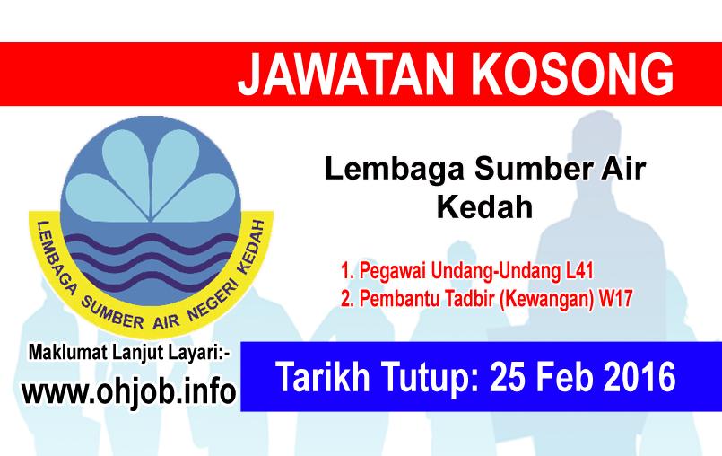 Jawatan Kerja Kosong Lembaga Sumber Air Negeri Kedah logo www.ohjob.info februari 2016