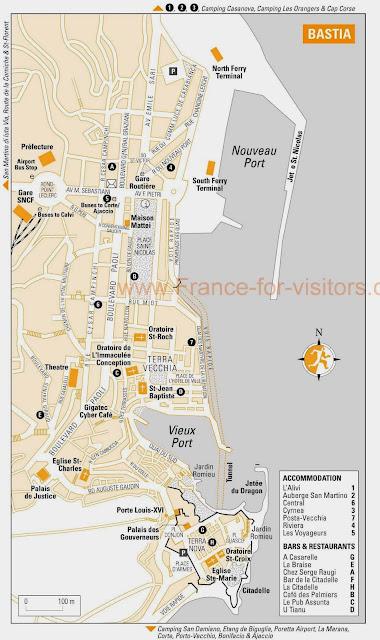Bastia map, Corsica