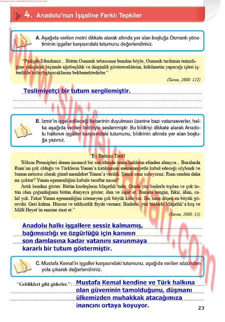 8. Sınıf İnkılap Tarihi Çalışma Kitabı Cevapları Top Yayınları Sayfa 23